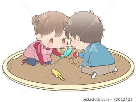 모래밭에서 노는 아이들 72012428