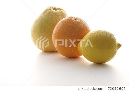 葡萄柚,橙和檸檬在白色背景上拍攝 72012695