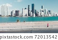 Aerial view of Rickenbacker Causeway in Miami, slow motion of car traffic. Slow motion 72013542