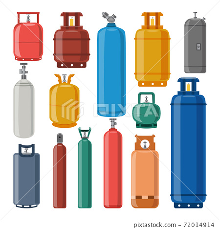 Set of gas cylinders of different colors and shapes a vector isolated illustration 72014914