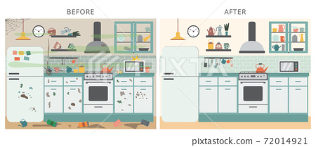 Flat vector illustration of kitchen interior before and after cleaning 72014921