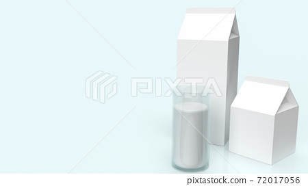 glass milk and milk box for food content 3d rendering. 72017056