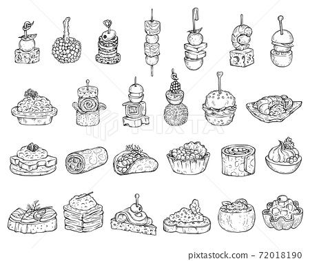 Set of appetizers or canape in line style, cartoon vector illustration isolated. 72018190