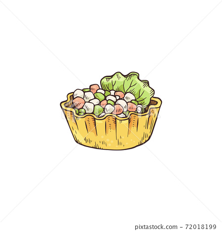 Small tartlet snack with topping of cheese sketch vector illustration isolated. 72018199