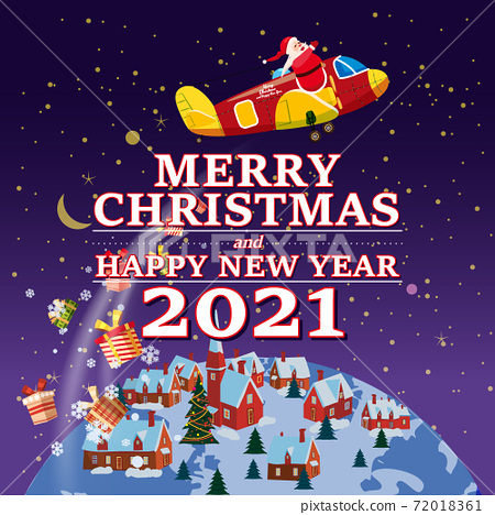 Santa Claus Van with text Merry Chrismas and Happy New Year 2021 flying in plane delivering shipping gifts 72018361