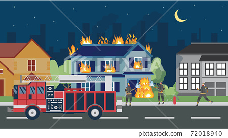 Banner with buildings in flames, fire truck and fire brigade a vector illustration 72018940