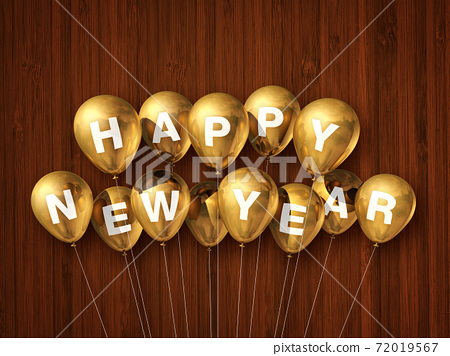 Gold happy new year air balloons on a dark wooden background 72019567