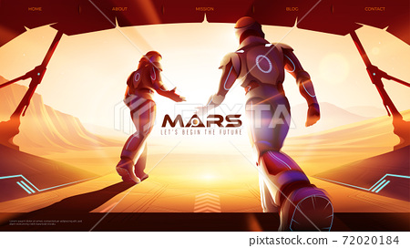 two astronauts are walking out from the spaceship to the outside on Mars, ready for the greatest exploration 72020184