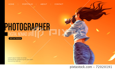 Template design for landing page in vector illustration of the lady photographer is smiling and taking a photo of the beautiful sunset 72020191