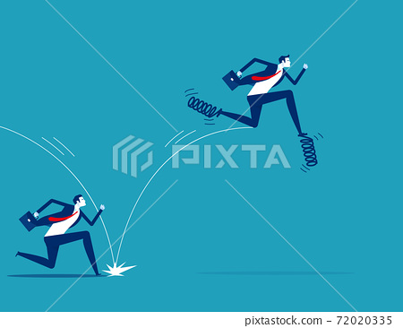 Leadership uses spring to jump in front of his companion. Business competition concept 72020335