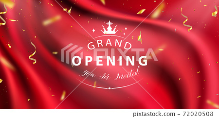 Red curtain background. Grand opening event design. confetti gold ribbons. luxury greeting rich card. 72020508