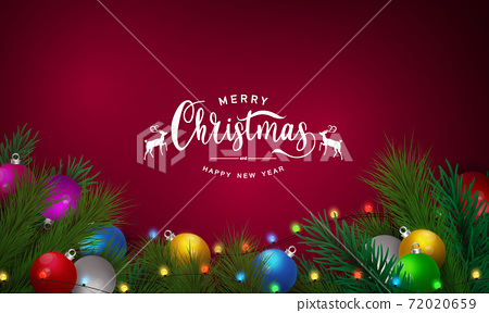 Merry Christmas and Happy New Year background. Celebration background template with ribbons. luxury greeting rich card. 72020659
