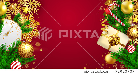 Merry Christmas and Happy New Year background. Celebration background template with ribbons. luxury greeting rich card. 72020707