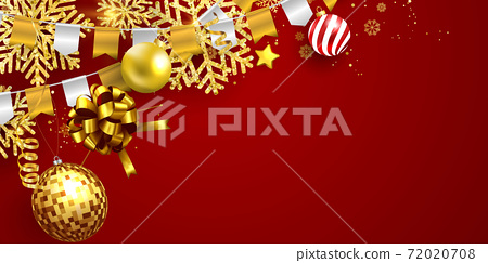 Merry Christmas and New Year Xmas background, Red santa top hat 72020708