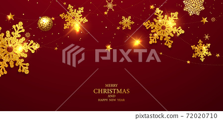 Merry Christmas and Happy New Year background. Celebration background template with ribbons. luxury greeting rich card. 72020710