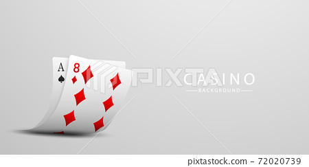 Playing card. Winning poker hand casino chips flying realistic tokens for gambling, cash for roulette or poker, 72020739