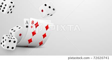 Playing card. Winning poker hand casino chips flying realistic tokens for gambling, cash for roulette or poker, 72020741