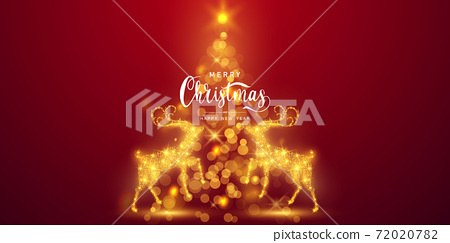 Merry Christmas and Happy New Year background. Celebration background template with deer bokeh. luxury greeting rich card. 72020782