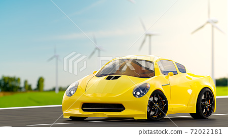 Yellow car run on country road. 72022181