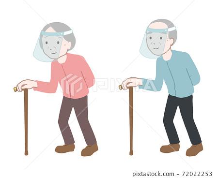 老年人with著拐杖走路面罩沒有電線 72022253