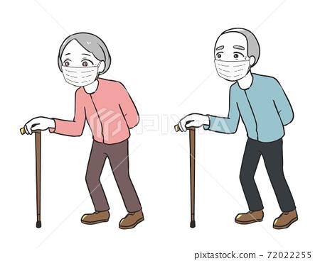 mask著拐杖走路的老人面具 72022255