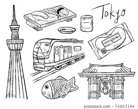 Black and white handwritten illustration image of Tokyo and Sky Tree 72023194