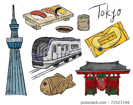 Handwritten illustration image of Tokyo and Sky Tree 72023196