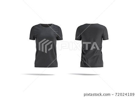 Blank black women t-shirt mockup, front and back view 72024189