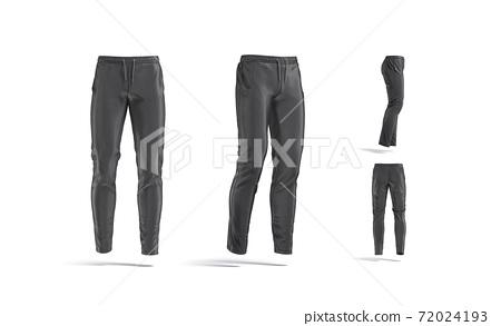 Blank black sport pants mockup, different views 72024193