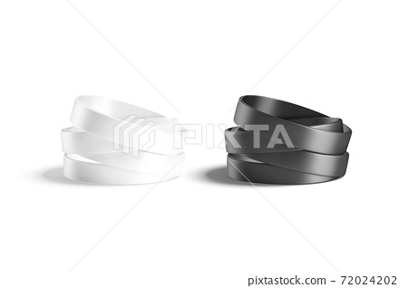 Blank black and white silicone wristband stack mockup, isolated 72024202