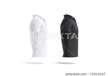 Blank black and white polo shirt mockup, side view 72024207