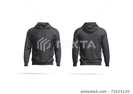 Blank black hoodie with hood mockup, front and back view 72024220