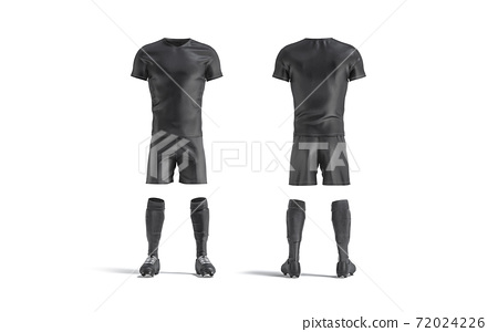 Blank black soccer uniform mockup, front and back view 72024226