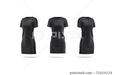 Blank black cloth dress mockup, front and side view 72024229