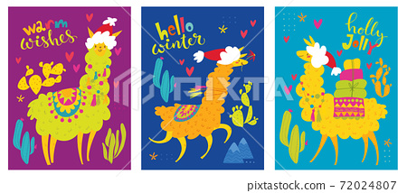 Christmas posters with alpaca or lama characters and wishes. 72024807