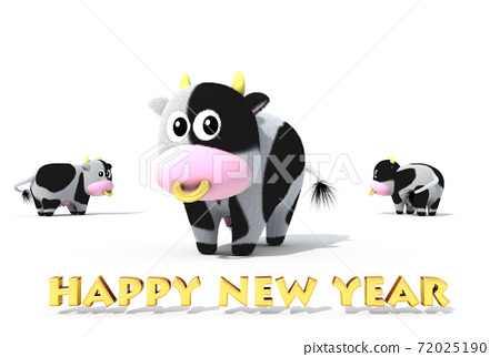 2021 년 令和 3 년 연하장 소의 일러스트 72025190