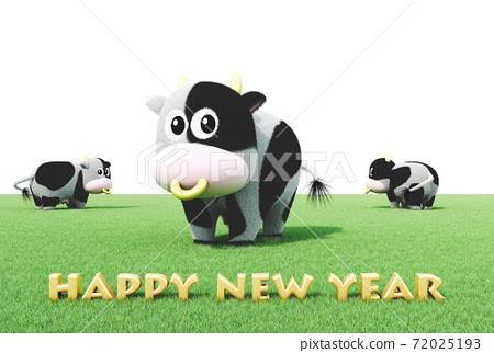 2021 년 令和 3 년 연하장 소의 일러스트 72025193