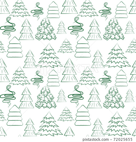 Seamless background with different Christmas trees. Vector New Year. 72025655