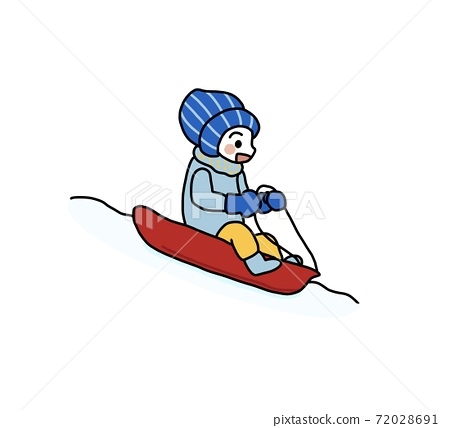 썰매 놀이를하는 아이의 그림 72028691