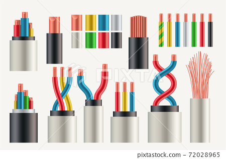 various types and colors electrical cables set 72028965