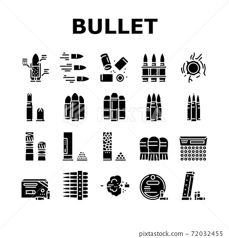 Bullet Ammunition Collection Icons Set Vector 72032455