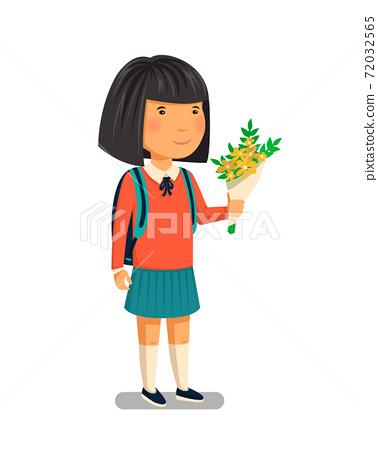 Schoolgirl vector. Happy schoolgirl with backpack holding bouquet of flowers for her teacher. Elementary school student. Flat cartoon illustration. First school year. Back to school. 72032565