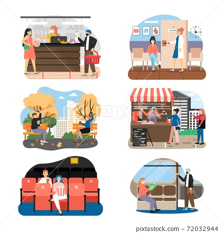 Social distancing set, flat vector illustration. People in medical masks keeping distance in public places. New normal. 72032944