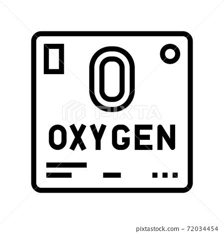 chemical element oxygen 02 line icon vector illustration 72034454