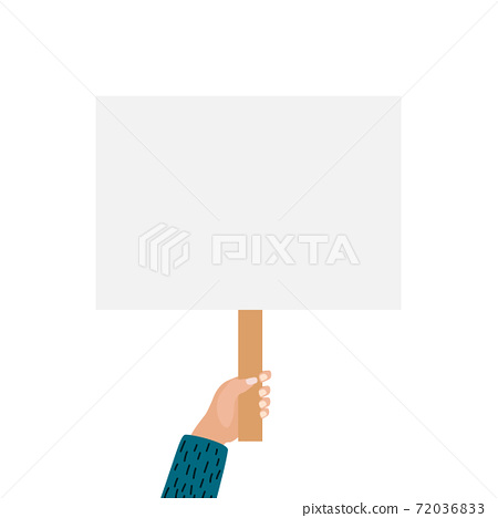 Hands holding blank placard isolated on white background. Vector Illustration 72036833