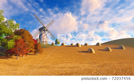 Rural landscape with windmill and haystacks 3D 72037456