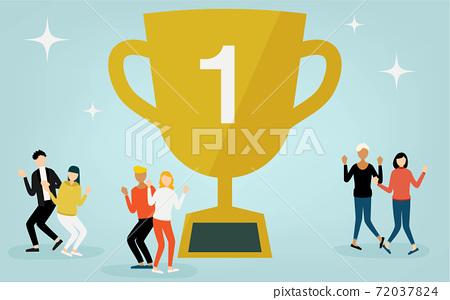 人們為冠軍獎杯而歡欣鼓舞 72037824