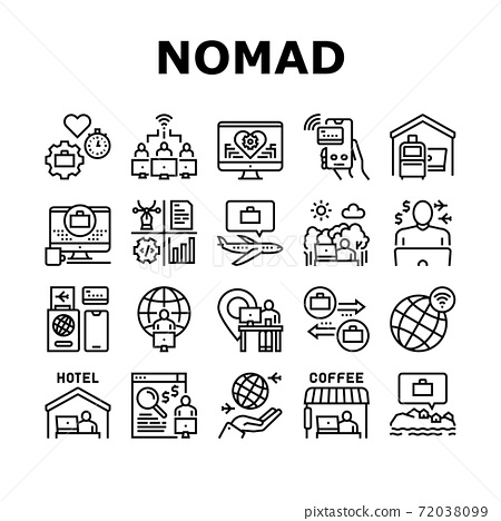 Digital Nomad Worker Collection Icons Set Vector 72038099