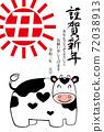 新年賀卡牛肉碗新年快樂 72038913