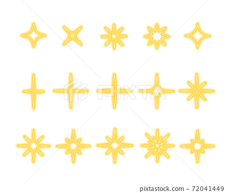 Shining gold, yellow stars sparkles and twinkles. Set of bright glow, sudden flash, dazzle light effects. Vector illustration 72041449